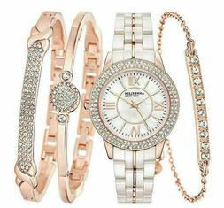 Anne Klein New York Rose Gold Tone Ceramic Watch and Bangle