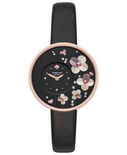 NWT Kate Spade New York Metro Woman's Black Leather Watch Fl