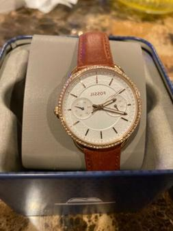 NWT Fossil Women's Tailor Crystal Silver Dial Brown Leathe