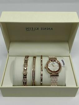 ANNE KLEIN NY 12/2316BHST Ceramic Watch With 3 Jewelry Brace