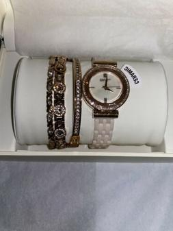 Anne Klein NY 12/2316BHST Rose gold W/Crystals Ceramic Women