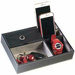 Organizer Box Valet Tray for Jewelry Wallet Watch Phone Hold