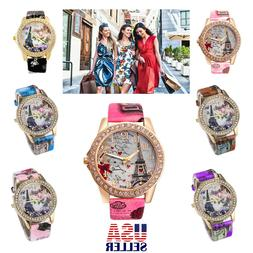 Retro Women Watch Eiffel Tower Fashion Rhinestone Floral Lea