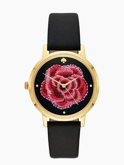 KATE SPADE SKW1459 EMBROIDERED FLOWER BLACK  LEATHER STRAP W