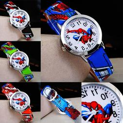 Spiderman Leather Wrist Watch Boy Girl Women Teens Kids Cart