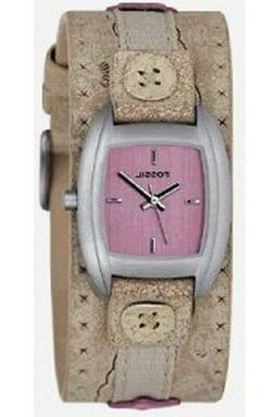 Fossil Square Pink Dial Silver Tone Beige Thick Leather Wome