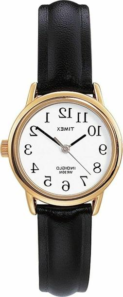 Timex T20433, Women's Easy Reader, Black Leather Watch, Indi