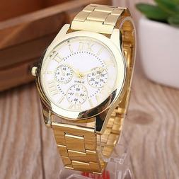 US Fashion Women Roman Numbers Quartz Analog Alloy Gold Plat