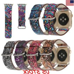 USA Women Floral Leather Band for Apple Watch 38mm 42mm Flow
