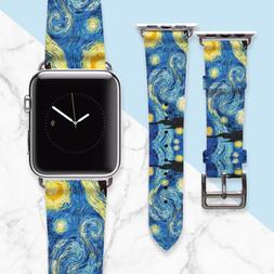 "Van Gogh ""Starry Night"" Apple Watch Band 38mm Women Leather"
