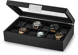 Glenor Co Watch Box for Men - 12 Slot Luxury Carbon Fiber De