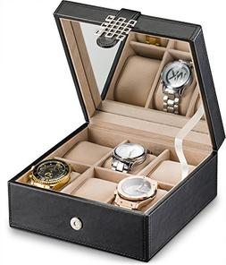 Glenor Co Watch Box for Women - 6 Slot Classic Watch Case Di