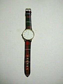 Watch, Red And Black Plaid Fabric Print, Brand New
