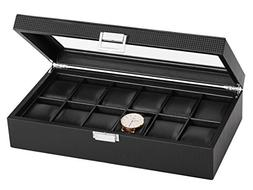 SWEETV Large Watch Storage for Men - 12 Watches Slots, Luxur