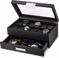 Large 12 Slot Watch Box for Men -Valet Jewelry Drawer Displa