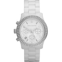 Women's White Ceramic Link Bracelet Quartz Chronograph Cryst