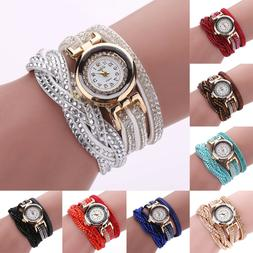 Women Casual Watch Bracelet Crystal Leather Dress Analog Qua