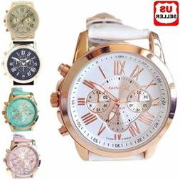 Women Fashion Geneva Roman Numerals Faux Leather Band Analog