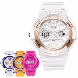 Women Girls Cool Digital Sport Luminous Analog Quartz Waterp