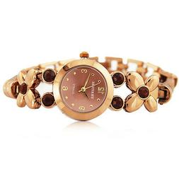 Women Ladies Butterfly Bronze Stainless Watch with Gem Elega