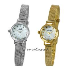 Women Ladies Girls Quartz Wrist Watches Small Dial Mesh Stai