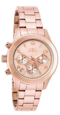Invicta Women's Angel Chrono 100m Rose Gold Plated Stainless