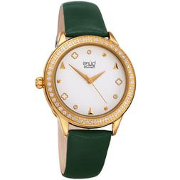Women'S Burgi BUR221GN Diamond Dial Crystal Gold Tone Green