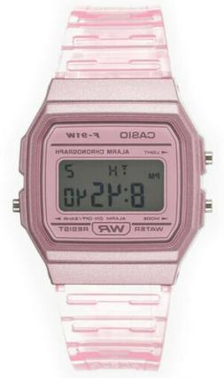 Casio Women's Classic Digital Quartz Pink Transparent Resin