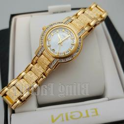 Women's Elgin Diamond Round Analog Date Gold Tone mother of