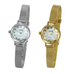 Women's Ladies Simple Elegant Slim Mesh Band Bracelet Analog