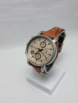 Fossil Women's Original Boyfriend Brown Leather Band And Dia