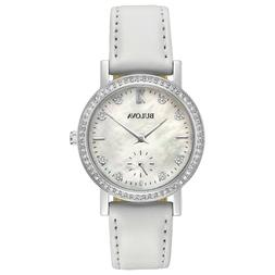 Bulova Women's Quartz Swarovski Crystal White Mother of Pear