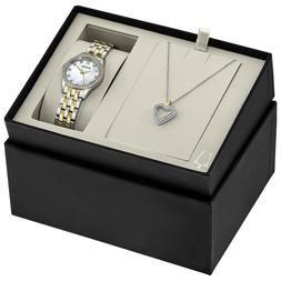 Bulova Women's Quartz Two-Tone 28mm Watch and Crystal Pendan