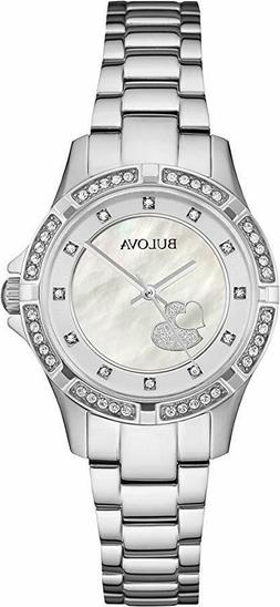 Bulova Women's Silver-Tone Bracelet and Mother of Pearl Dial