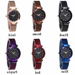 US Women Fashion Watch Starry Sky Crystal Magnetic Stainless