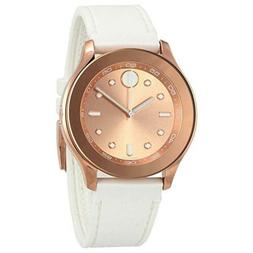 Movado Women's Watch Bold Quartz Rose Gold Dial White Rubber