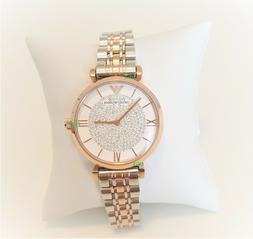 Emporio Armani Women's Watch Crystals White Dial Rose Gold B