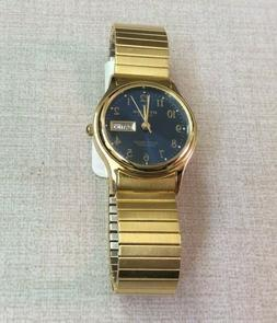 Ottimo Women's Watch Round Blue Date Dial on Gold Flat Stret