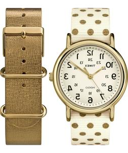 Women's Timex Weekender White And Brown Leather Band  Gift S