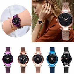 Women Starry Sky Belt Watch Magnet Strap Buckle Stainless Ca