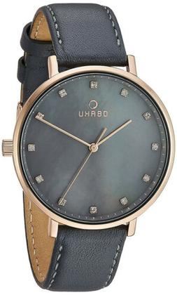 Obaku Women Vest Pebble Rose Gold Stainless Steel/Grey Leath