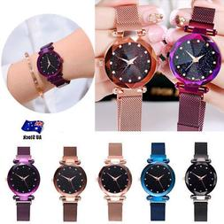 Women Watch Starry Crystal Round Dial Bracelet Watches Wrist