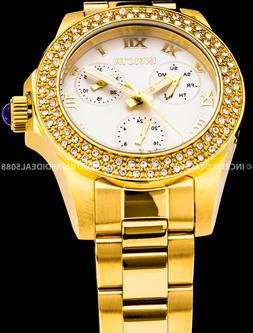 Invicta Womens Angel Chronograph MOP Crystal Accent 18Kt Gol