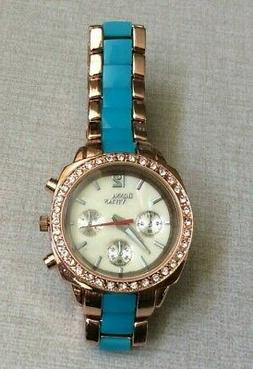 Donna Vivian Womens Crystal Watch Pearl Dial Turquiose Blue