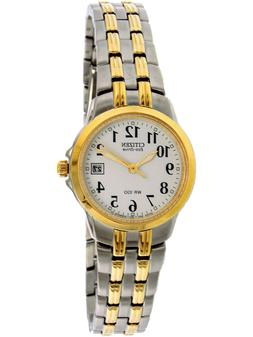 womens eco drive silver and gold two