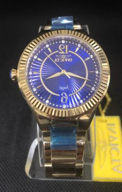 Invicta Womens Watch 28281 Angel Blue Dial Gold Tone Stainle