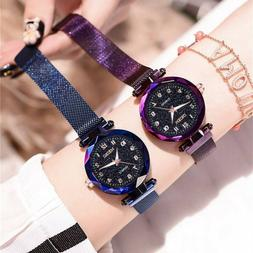 Womens Watch Starry Sky Flat Glass Quartz Mesh With Magnetic