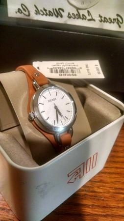 Fossil Womens White Dial Brown Leather Strap Quartz Watch BQ